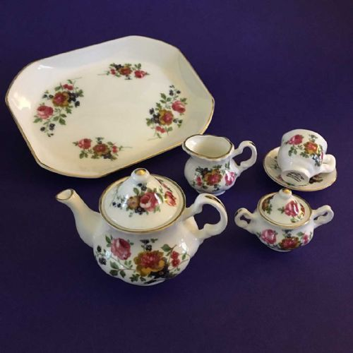Miniature Tea Set - Roses - Bone China